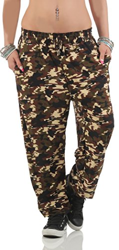 malito Freizeithose im Camouflage Look Neon Haremshose XB-6708 Damen beige (Party Zumba Kostüm)