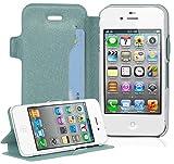 Cadorabo Hülle für Apple iPhone 4 / iPhone 4S - Hülle in ICY BLAU – Handyhülle mit Standfunktion und Kartenfach im Ultra Slim Design - Case Cover Schutzhülle Etui Tasche Book