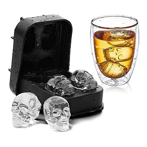 KNDJSPR 2 Stück Eiswürfelschalen, 3D Silikon Schädel Eisform, lustige kreative Eisform Maker, Easy Release, Auslaufsicher, 4 süße Eisschädel, für Cocktails Saft Getränke, 80g