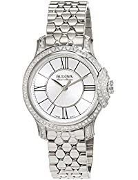 Bulova Accu Swiss Bellecombe Women's Quartz Watch with Silver Dial Analogue Display and Silver Stainless Steel Bracelet 63R145