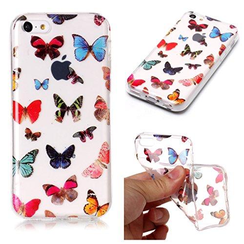 Cover iPhone 5/5S/SE, GrandEver Morbida Trasparente Ultra Slim Gel Silicone TPU Custodia Protettiva Back Shell Case per iPhone 5/5S/SE - Donuts Farfalla