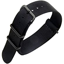 22 mm Premium Deluxe negro estilo de la NATO robusto exótica nylon suave tipo Reloj pulsera de los hombres del deporte