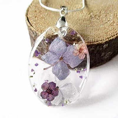 Pendentif Ainoha en résine et fleurs - Bijou nature Collier en fleurs séchées colorées …