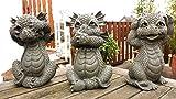 Figure de jardin Dragon lot de 3 rien n'entendent, ne voient rien, ne parlent rien