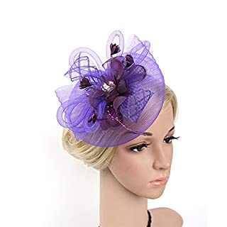 Styhatbag Fascinators Hat Women Elegant Fascinator Hat Bridal Feather Hairband Headwear Flower Hair Accessories Cocktail Tea Party Church Derby Hats (Color : Purple)