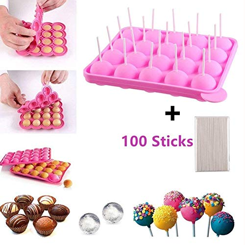 (Junxave BPA-Frei Pop Cake Formen & Ice Cube Tabletts + 100 Sticks Silikon Lollipop Candy Gumdrop Jelly molds- Pink)