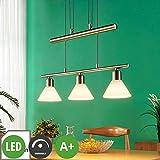 Lindby LED Pendelleuchte 'Eleasa' dimmbar (Modern) in Alu aus Glas u.a. für Wohnzimmer & Esszimmer (3 flammig, E14, A+, inkl. Leuchtmittel) - Hängeleuchte, Esstischlampe, Hängelampe, Hängeleuchte