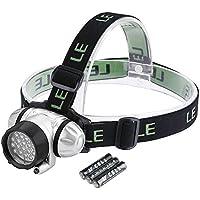 LE 3200001 - Linterna frontal, Potente 18 LEDs blancos y 2 LED rojos, 4 modos de luz, Pilas incluidas