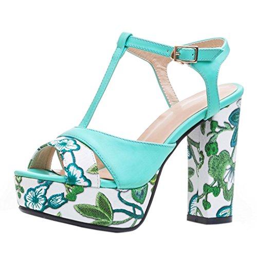 ENMAYER Womens PU Materiale Tacchi alti Cinturino in cinghia Piattaforma Block Heels Sandali Dress Sandali Blu#83
