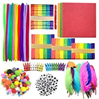 Pipe Cleaners Crafts Set, Wartoon Pipe Cleaners Chenille Stem and Pompoms with Googly Wiggle Eyes for Craft DIY Art Supplies