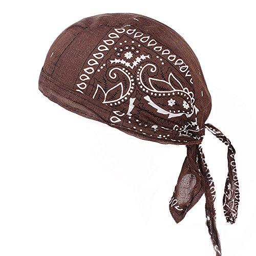 VRTUR Beach Modisches Bandana Kopftuch Bandana Cap 100% Baumwolle in über Verschiedenen Farben und Mustern Hut(One size,Kaffee) -