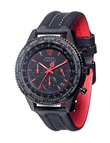 DETOMASO Herren- Armbanduhr Firenze Chronograph mit schwarzem Edelstahl-Gehäuse und schwarzem Zifferblatt. Klassische und wasserdichte Quarz Herren-Uhr.