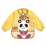 oral-q Unisex niños Childs artes manualidades pintura delantal bebé babero impermeable con mangas y bolsillo, 6-36meses, un amarillo oso panda, juego de 1
