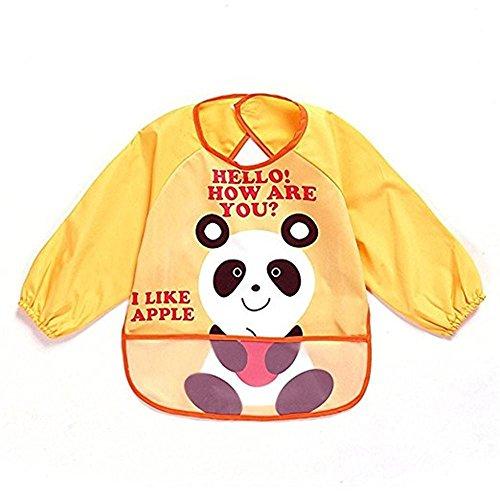 oral-q Unisex Kinder Craft Malerei Schürze Baby Lätzchen, wasserfest mit Ärmeln und Tasche, 6–36Monate, A gelb Panda, Set 1 (Back Gelb Bay)
