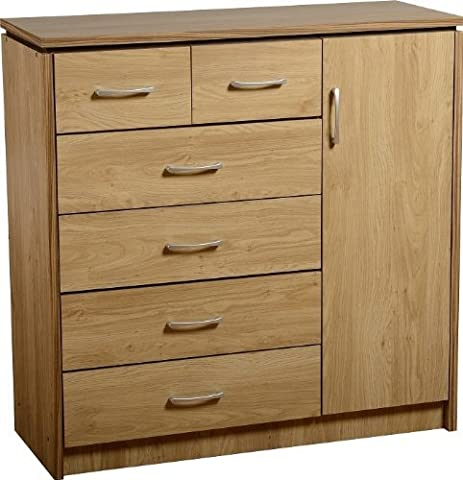 Charles 1 Door 6 Drawer Chest in Oak Effect Veneer with Walnut Trim by Direct Place