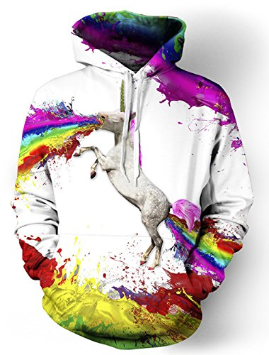 Leapparel Unisex Colourful 3D Pullover Hoodie Sweatshirt For Men and Women With Big Pocket Cool Graphic Prints