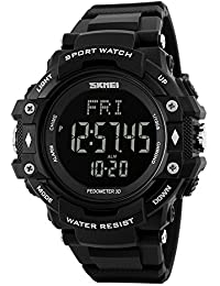 SKMEI 1180 Heart Rate Monitor Sensor Digital Smart Waterproof Sport Watch Black Colour with Health Activity Fitness Tracker Pedometer, Calories and Distance Calculator