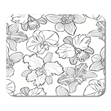 """Gaming Mauspad Blossom Floral Different Orchids Black and White Contour Drawing 11.8""""x 9.8"""" Decor Office Nonslip Rubber Backing Mousepad Mouse Mat"""
