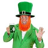 NET TOYS Grüner Zylinderhut mit Bart Zylinder Leprechaun St Patricks Day Hut Irischer Kobold Kopfbedeckung