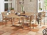 SAM Gartengruppe, 5tlg, Balkongruppe aus Teakholz, 1 x Tisch + 4 x Stuhl, Garten-Tischgruppe, schöne Maserung, massives Holz, Sitzgruppe aus Teak-Holz [522124]