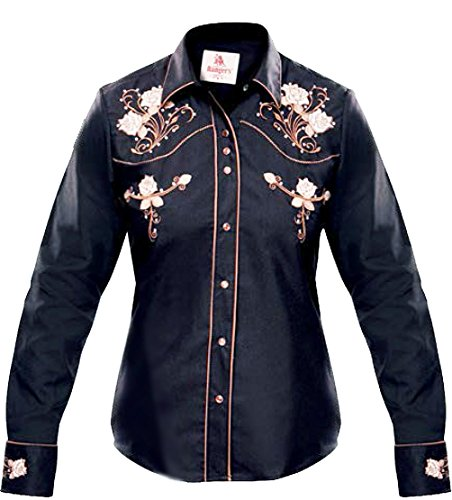 Modestone Women's Embroidered Fitted Western Hemd Floral Black L (Shirt Western Cattleman Ely)