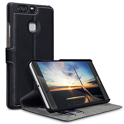 Huawei P9 Plus Case, Terrapin Leder Tasche Case Hülle im Bookstyle mit Standfunktion Kartenfächer für Huawei P9 Plus Hülle Schwarz