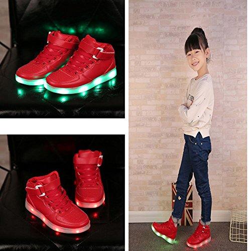 Dijun 7 Farbe LED Leuchtend Sneakers USB LED Schuh Kinder Schwarz