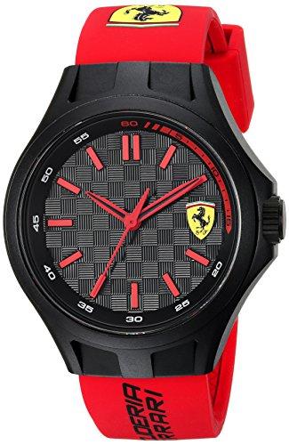 Scuderia Ferrari Men's Quartz Plastic and Silicone Casual Watch, Color:Red (Model: 0840007)
