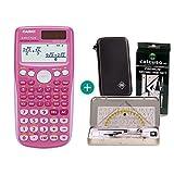 Casio FX 85 GT Plus Pink + Schutztasche + Geometrie-Set