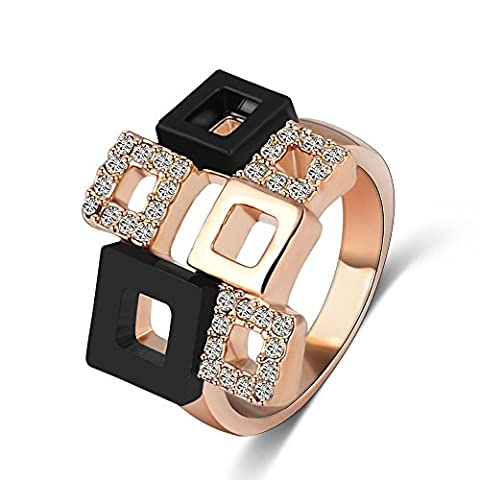 AnazoZ Fashion Jewelry Crystal Rings 18K Rose Gold Plated Austrian Crystal SWA Element Square Shape Ring UK Size P 1/2