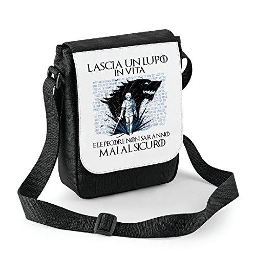 Mini borsa a tracolla Game of Thrones - Lascia un lupo in vita e le pecore non saranno mai al sicuro - humor - il trono di spade- serie tv - Bianco