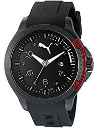 PUMA Pioneer Men's Quartz Watch with Black Dial Analogue Display and Black Silicone Strap PU104011001