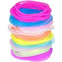 Hotop Pulseras de Silicona de Colores Lazo de Pelo Luminoso, 100 Piezas