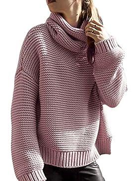 [Patrocinado]Romacci Las Mujeres Sueltan Suéter de Punto Cuello Alto Manga Larga Sólido Cuello Alto Jerseys Top Prendas de...