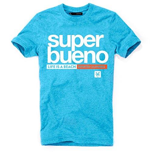 DEPARTED Herren T-Shirt mit Print/Motiv 4169-180 - New fit Größe XL, Island Blue Melange -