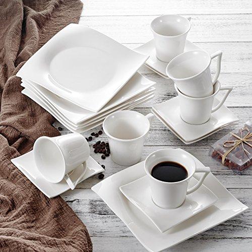 vancasso Lolita 18 tlg. Porzellan Kaffeeservice, Weißes Kaffeeset für 6 Personen, Beinhaltet...