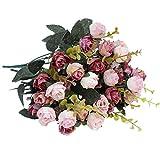 Luyue, Künstliche Seiden-Blumen-Sträuße mit 7Stielen und 21 Rosen, 2Stück Pink coffee - 6