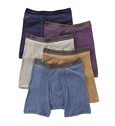 Hanes Classics Mens Assorted Dyed Boxer Briefs P5 L Assorted (Boxer Mens Hanes Classics)