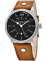 Stuhrling Original Mens Stainless Steel 42 mm Military Style Wrist-Watch Miyota/Citizen 2115 Japanese Quartz Movement Casual Fashion Dress Designed for Men Genuine Leather Stitched High Quality Strap