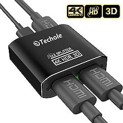 Techole Splitter HDMI Mini 4K 1*2 IntelligentIl s'agit d'une solution d'affichage HD multi-pièces de bonne performance et plug & play simple, vous permettant d'envoyer votre TV satellite HD, film DVD / Bluray, PS4 / Xbox 360 Elite, ou tout autre appa...