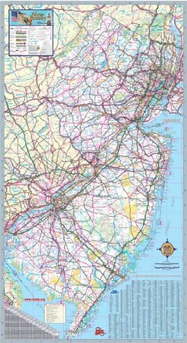 New Jersey State Offizielle Wandkarte, laminiert, 36 x 64 cm (Von Karten New Jersey)