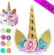 Unicorn Cake Topper, Reusable Unicorn Horn & Ears & Eyelashes and Flowers, Unicorn Party Cake Decorati