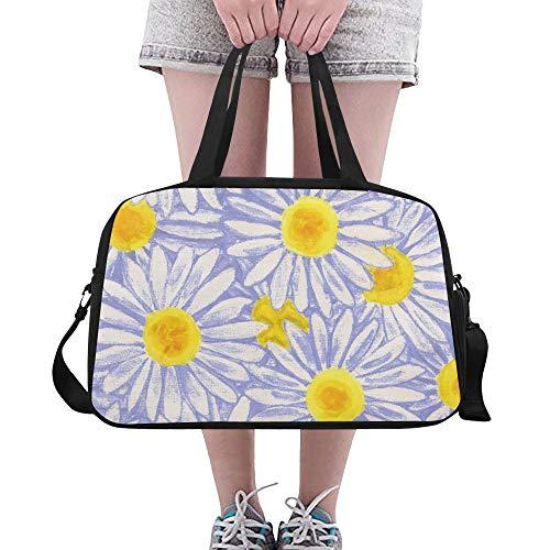 Oxeye Daisy Floral schöne Blume benutzerdefinierte große Yoga Gym Totes Fitness Handtaschen Reise Seesäcke mit Schultergurt Schuhbeutel für Übung Sport Gepäck für Mädchen Herren Damen Outdoor (Ox Daisy Eye)