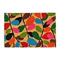 Nicola Spring Non-Slip Coir Door Mat - 60 x 90cm - Leaves - PVC Backed Welcome Mats Doormats