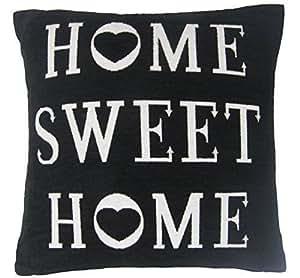 """MIT HERZ """"HOME SWEET HOME"""", SCHWARZ/WEISS STARKE, CHENILLE, GEFÜLLT, 45.72 CM - 45 CM"""