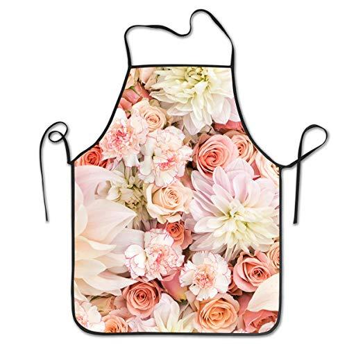 dfhfdsh Küchenschürze,Grillschürzen,Adjustable Bib Petal Roses Blush Pink Apron Cooking Waterdrop Resistant Kitchen Aprons for Women Men Chef Graphic Unique Housewife -