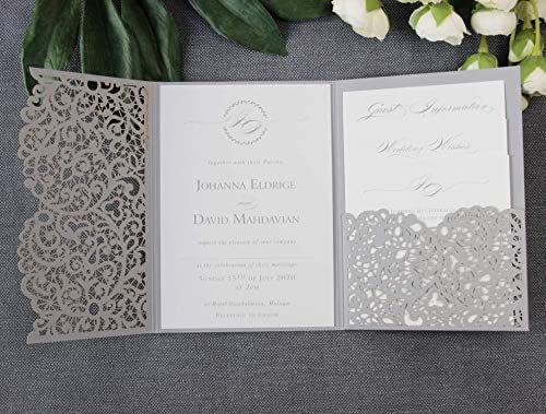 Apribile taglio laser inviti matrimonio fai da te partecipazioni matrimonio grigia carta con busta - campione prestampato !!