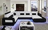 SAM® Design Wohnlandschaft New York, mit LED Beleuchtung, in Weiß & schwarz inkl. Kissen, abgestepptes Design, bequeme Polsterung, pflegeleicht, futuristisches Design