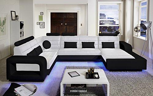 SAM Design Wohnlandschaft New York, mit LED Beleuchtung, in Weiß & schwarz inkl. Kissen, abgestepptes Design, bequeme Polsterung, pflegeleicht,...