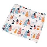 #4: Motherly Baby Blankets Newborn, 2 Layer 100% Organic Muslin Cotton Cloth Swaddle, 120x120 cm (Trees Fox)